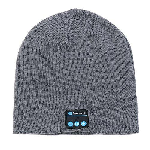Beanie Hat con Wireless Headset Bluetooth Stereo Speakers Mic Musica Cap per Walking Sci di fondo Corsa (grigio scuro)