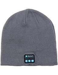 Beanie Hat con auriculares inalámbricos Bluetooth altavoces estéreo Mic Music Cap para caminar Running Skiing (gris oscuro)