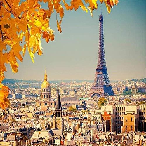 BIZO Wandaufkleber 3D Wandbilder Paris Eiffelturm Landschaft Sofa Tv Hintergrund Wandaufkleber Schlafzimmer, 225 * 336 cm Kunst Aufkleber Wandbild,200 * 140 cm -