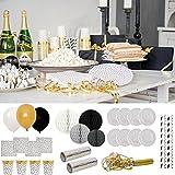 LS-LebenStil LS Design 8 Trinkbecher Schwarz Weiss Gold Konfetti-Design Becher Kinder-Geburtstag Party-Deko Dekoration Jungs Mädchen - Große Auswahl