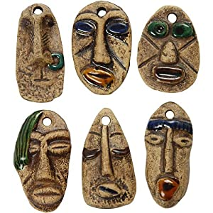Creativ Company - Colgantes de cerámica, tamaño 25x49 mm, de Color marrón, 6sort.