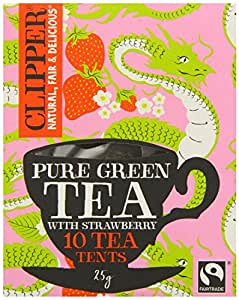 Clipper Fairtrade Green Tea & Strawberry Tea 10 Tents