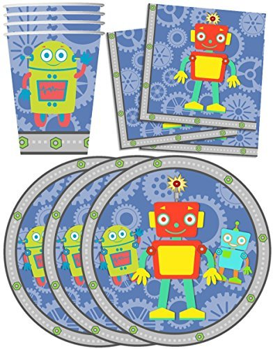 Robot Birthday Party Supplies Set Plates Napkins Cups Tableware Kit for 16