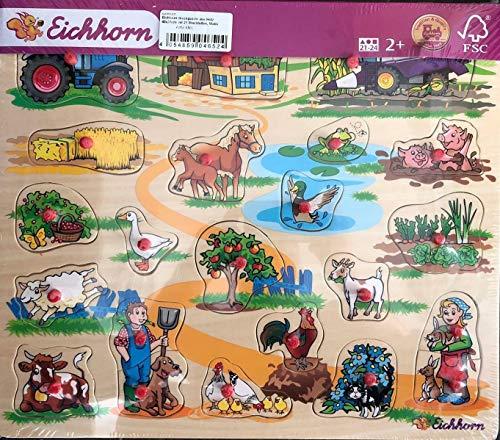 von der MMSB GmbH Eichhorn Steckpuzzle aus Holz 40x35cm mit 21 Steckteilen, Motiv Bauernhof