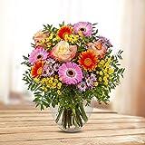 Kölle BlumenstraußAlles Gute zum Geburtstag - Ø 30 cm - gelbe, orange und pinke Rosen, Germini, Chrysanthemen, Zierkamille und Pistazie - inkl. Schnittblumenfrisch und Pflegetipps