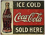 Ice Cold Coca Cola Coke Verkauft hier 1916 Distressed Retro Vintage Blechschild