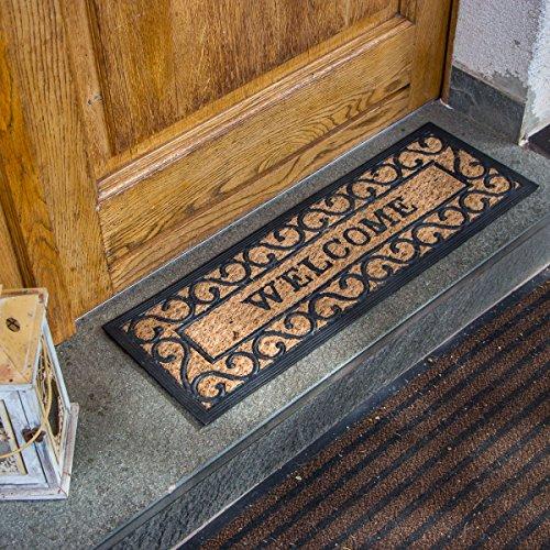 Antikas - felpudo para la puerta de casa 'Welcome' - felpudo de sisal y goma - felpudos entrada