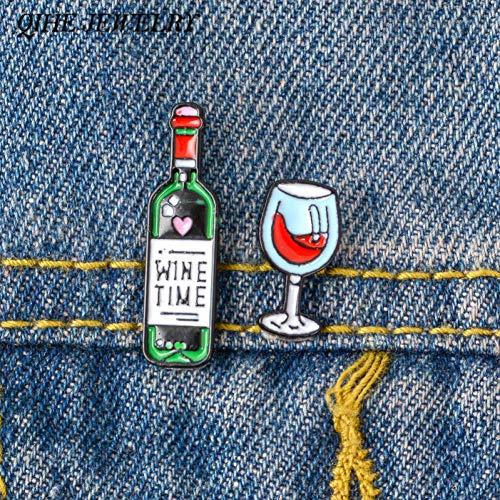HFKDJ Brosche 2 Teile/Satz Flasche Und Wein Pins Anstecknadeln Emaille Pins Abzeichen Broschen Für Männer Frauen Unisex Paar Schmuck