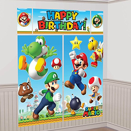 Amscan 670508 Super Mario Scene Setter Dekorieren Kit (Mario Dress Up)