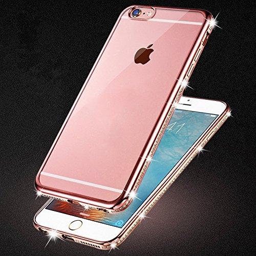 iPhone 6S Plus & 6 Plus Hülle Glitzer-Strass Case Schutzhülle (5,5 Zoll) im stylishen Glamour glitzer Crystal Look mit Strassteinen und Aufdruck für das iPhone 6S-6 Plus - Farbe: Rosé -Rose - Nur orig rose - Glitzer