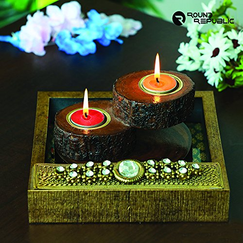 Golden Step - Glossy Iron T Light Holder / Unique Mirage Candle light stand/Diya Stand/Unique Deewali Diyas/Wooden Tea light holder/Candle Lamp  available at amazon for Rs.2280