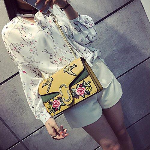 Frühling STRAWBERRYER Und Und Damen Sommer Messenger Bag Yellow Schultertasche Stickten Vögel Mode Blumen Stickerei U4wIHqRx4