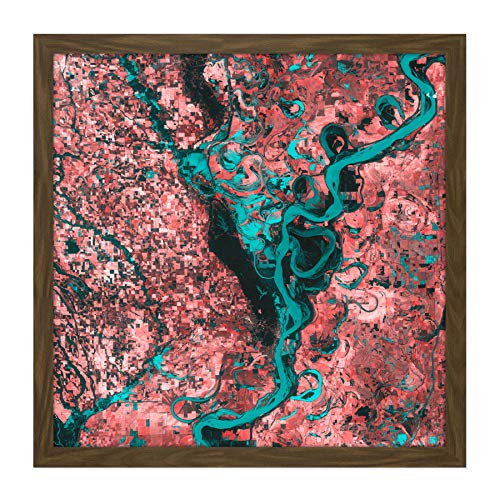 Teal Finish Holz (Abstract Teal Red Veins Rivers Square Wooden Framed Wall Art Print Picture 16X16 Inch Abstrakt Fluss Holz Wand Bild)