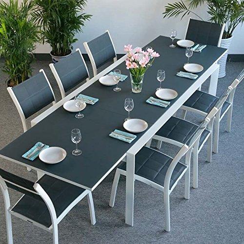 Table aluminium et verre Violet et 8 Chaises Lea - BLANC & GRIS | Grande table extensible 300cm en métal