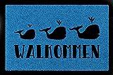 Interluxe FUSSMATTE Türvorleger WALKOMMEN Wal Tier Lustig Türmatte Eingang Flur Hausüt Royalblau