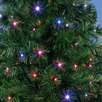 Green Fibre Optic Colour Changing LED Christmas Tree with Star 80cm