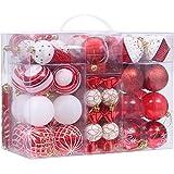 Sea Team 81-pack verschiedene Bruchsichere Christmas Ball Ornaments Set Deko Kugeln Anhängern mit wiederverwendbar Hand Geschenk-Paket für Xmas Tree Art Deco rot