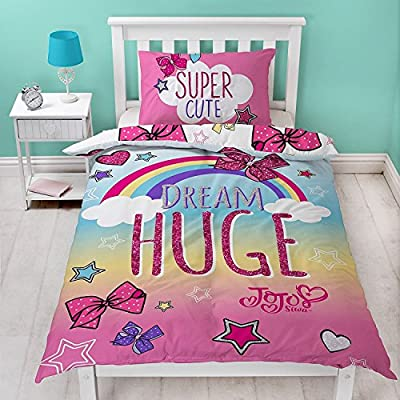 JoJo Siwa Single Duvet Set With Matching Pillow Case - Pink Bow Two Sided Reversible Design - low-cost UK light shop.