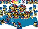 Transformers Roboter in Verkleidung Kids Party Supplies Teller Tassen Servietten Tischdecken-Free Candles Balloon Pack-16 Gäste
