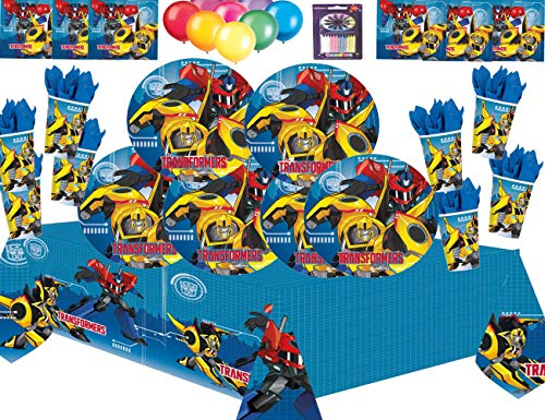 Transformers Roboter in Verkleidung Kids Party Supplies Teller Tassen Servietten Tischdecken-Free Candles Balloon Pack-16 ()