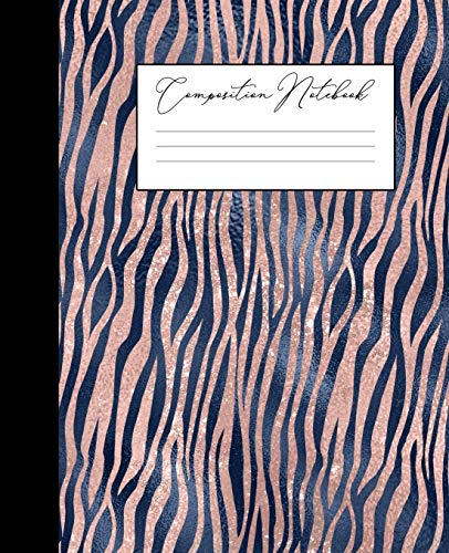 Composition Notebook: College Ruled Notebook | Navy Blue Blush Faux Rose Gold |Tiger Stripes Animal Print |  Lined School Journal | 120 Pages |  7.5 x 9.25