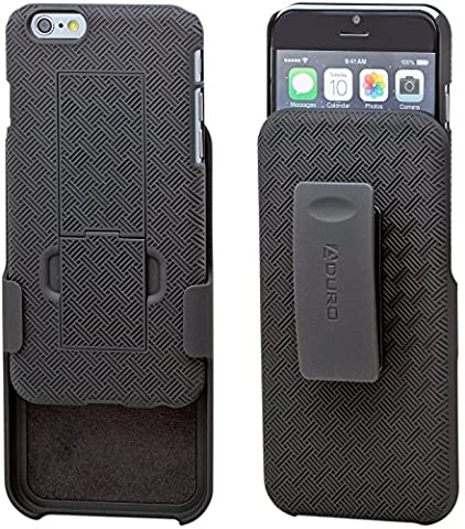 Aduro iPhone 6S / 6 Case, COMBO Shell & Holster Case Super Slim Shell Case w/ Built In Kickstand + Swivel Belt Clip Holster For Apple iPhone 6S / 6