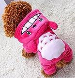 Xiaoyu cucciolo di cane cucciolo di cane da compagnia vestiti con cappuccio caldo maglietta felpa calda camicia cucciolo autunno inverno cappotto autunno cane moda tuta abbigliamento, rosa, XS