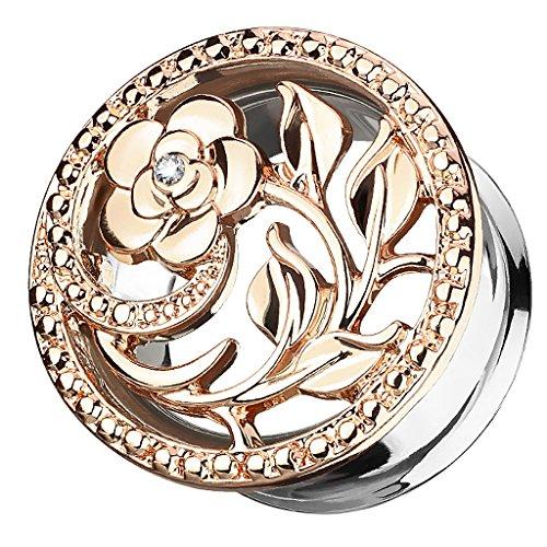 Piersando Ohr Plug Piercing Ear Flesh Tunnel Ohrpiercing Edelstahl Vintage Tribal Ethno Blume Ornament mit Strass Kristall 10mm Rosegold