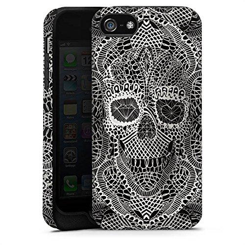 Apple iPhone 5 Housse étui coque protection Crâne en dentelle Tête de mort Motif Cas Tough terne
