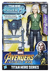 Hasbro Marvel Avengers - Infinity War Vedova Negra Black Widow Titan Hero Power FX, Figura 30 cm, Action Figure, e0614103