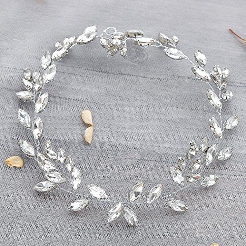 Aukmla Krone für Brautjungfern und Blumenmädchen, Hochzeit, mit Swarovskikristallen, Haarschmuck, funkelnd, Haarkranz - 5