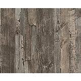 AS Creation Beunruhigt Treibholz Holzplatte Faux-effekt Geprägte Tapete - Dunkelbraun 954051