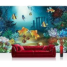 Papel Pintado Fotográfico Premium Plus pared mar–Papel pintado fotográfico pintado cuadro–Niños peces Corales y Medusa Multicolor–No. 2191, carbón, Fototapete 368x254cm | PREMIUM Blue Back