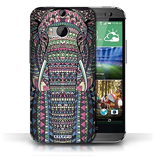 Coque de Stuff4 / Coque pour HTC One/1 M8 / Loup-Pourpre Design / Motif Animaux Aztec Collection éléphant-Couleur