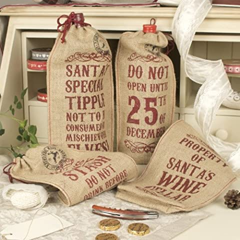 Juego de 4 o cama de matrimonio de yute para botella de vino de Navidad bolsa de regalo de juego de bolsas H 32 x