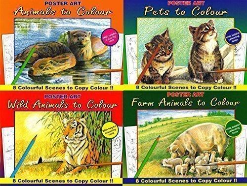 4er Set Erwachsene Farbe & Färbung Books Wilde Tiere, Tiere Auf Dem Bauernhof, Haustiere, & Tiere 1015