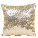 Xmiral Kissenbezüge Solid Color Glitter Pailletten Cafe Home Decor Sofakissen Pillowcase(40 x 40 cm,Khaki)