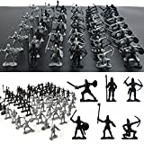FomCcu Spielfiguren-Set 60-teilig Soldaten mittelalterliche Ritter Krieger Kinder-Spielzeug