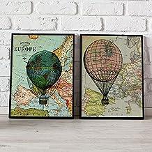 PACK GLOBOS. Pack de dos láminas. Posters con imágenes de globos y mapas. Decoración de hogar. Láminas para enmarcar. Papel 250 gramos alta calidad