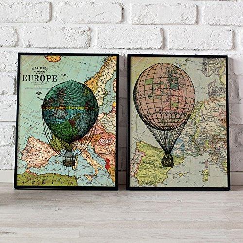 PACK de láminas GLOBOS. Posters con imágenes de globos y mapas. Decoración de hogar. Láminas para enmarcar. Papel 250 gramos alta calidad