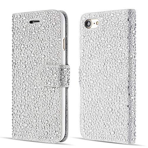 ZCDAYE Sparkly Diamond Flip Hülle für iPhone 6 6S,Bling Glitter Magnetisch Folio PU Leder Cute Case mit [Kartensteckplätze] Standfunktion Schutzhülle[Silber]