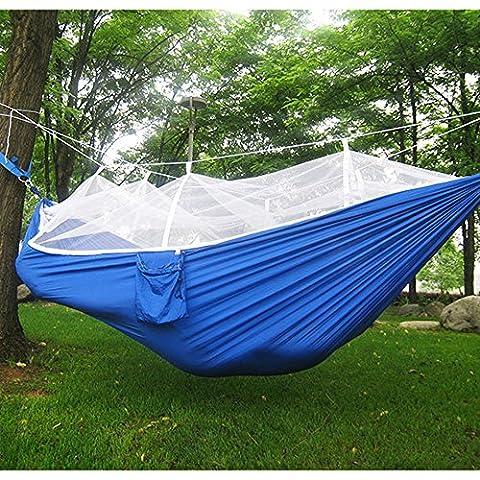 Fucnen Voyage Camping Randonnée Hamac à suspendre Lit avec moustiquaire pour extérieur/intérieur fasion Portable haute résistance Parachute Tissu, Homme, bleu