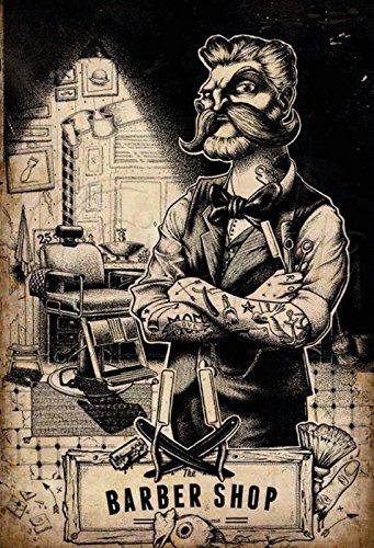 ComCard Barber Shop friser Tattoo Stuhl Schild aus Blech, metallsign, Tin
