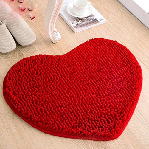 Sannix cuore Love in ciniglia in microfibra morbido tappeto soffice (tappetino bagno camera 1PC Love Heart) Moda Red