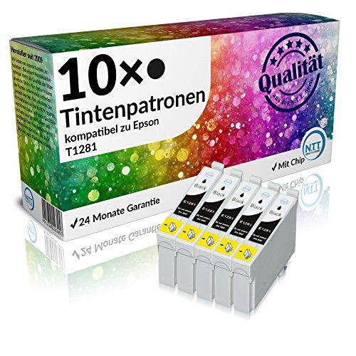 N.T.T.® 10 x Stück XL Druckerpatronen / Tintenpatronen kompatibel zu Epson T1281 Schwarz, Sparpack