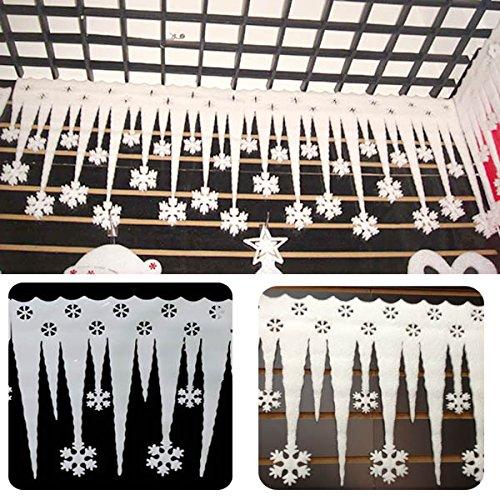 Bluelover Decorazione di festa di Natale ornamenti bianca schiuma del fiocco di neve ghiaccio strisce giardino