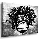 Leinwandbild Banksy Monkey Street Art Graffiti Leinwand Bild von artfactory24 fertig auf Keilrahmen - Kunstdrucke, Leinwandbilder, Wandbilder, Poster, Gemälde, Pop Art Deko Kunst Bilder