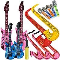 Lictin 14 pcs Inflables de Juguete Inflable Guitarra micrófono saxofón música Prop para Fiesta,Piscina