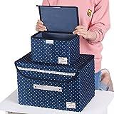Sivin DOT blu pieghevole tessuto contenitori per camerette, uffici, armadi, arredamento, Cube organizzatori, Dot Blue, Set (1Pc M+1Pc S)