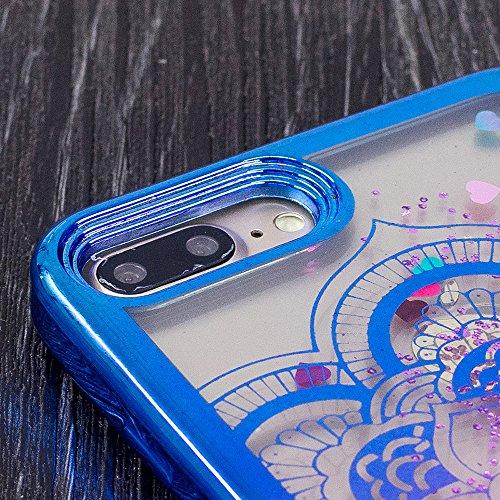 für iPhone 7 Plus Hülle, TPU Handyhülle für iPhone 7 Plus, Vandot Flüssiges Liquid Glitzer Diamant Schutzhülle für iPhone 7 Plus Handyhülle Glitter Bling Shining Luxus Transparent TPU Silikon Zurück C Mandala